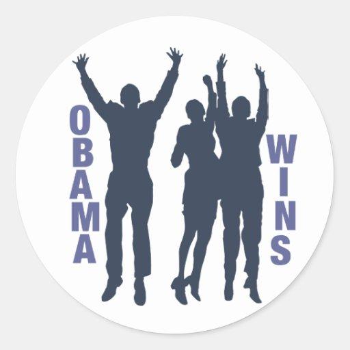 Vitórias de Obama Adesivos Em Formato Redondos