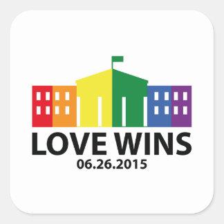 Vitórias do amor adesivo quadrado