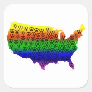 Vitórias lésbicas do amor adesivo quadrado