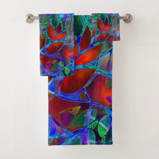 Vitral abstrato floral ajustado de toalha