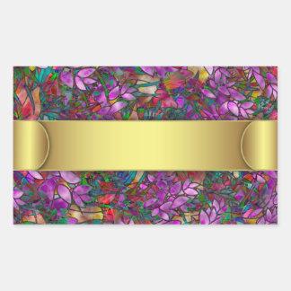Vitral abstrato floral da etiqueta adesivos retangular