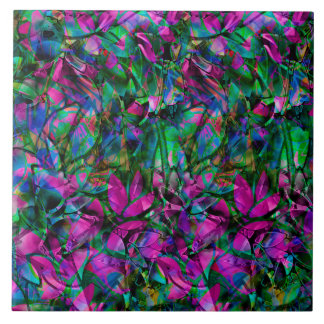 Vitral abstrato floral do azulejo