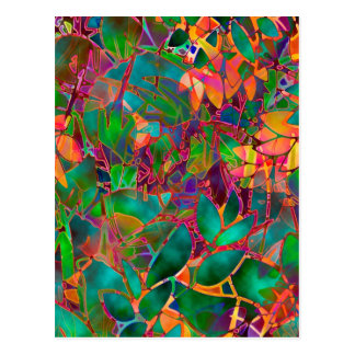 Vitral abstrato floral do cartão