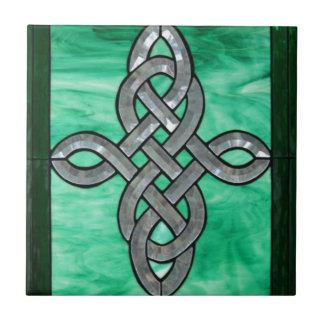 vitral celta da prata do verde do nó