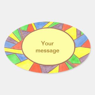 Vitral colorido sua mensagem, etiquetas ovais adesivos em formato oval