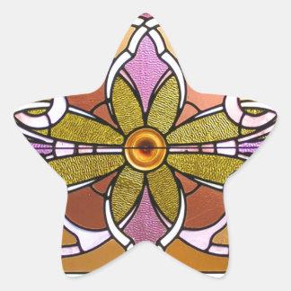 Vitral cor-de-rosa e verde adesivo estrela