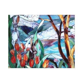 Vitral do jardim do coelho na arte das canvas