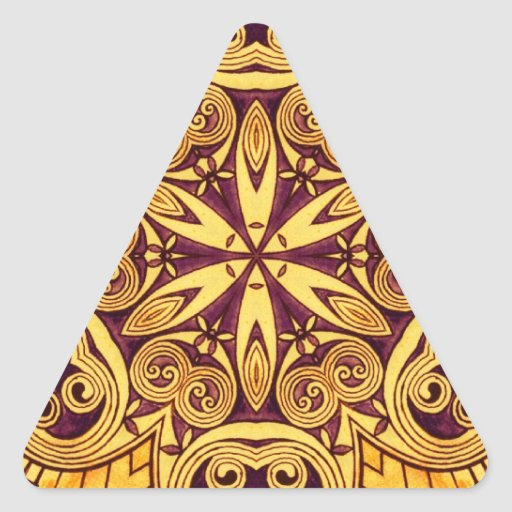 Vitral festivo do ouro e do rosa da obscuridade adesivo triângulo