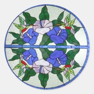 Vitral floral bonito com colibris adesivo