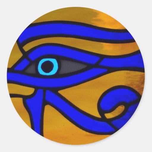 "Vitral ""olho de Horus "" Adesivo Em Formato Redondo"