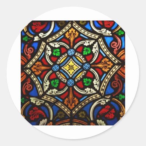 Vitral religioso bonito adesivos redondos