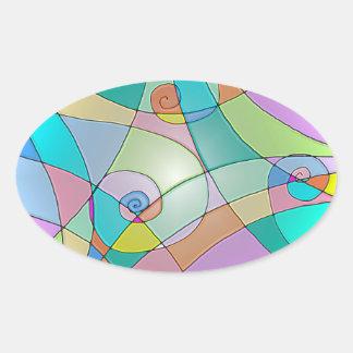 Vitral simulado colorido nos Pastels Adesivos Em Formato Ovais