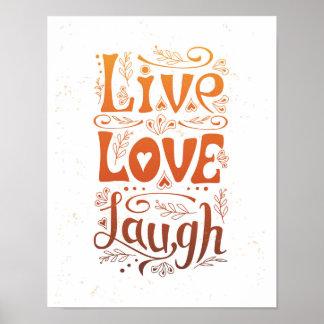 """""""Viva. Amor. Cartaz escrito à mão do riso"""" Pôster"""