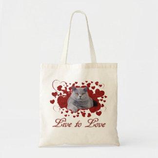 Viva para amar o gato sacola tote budget