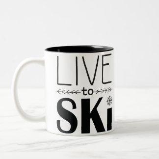 Viva para esquiar caneca