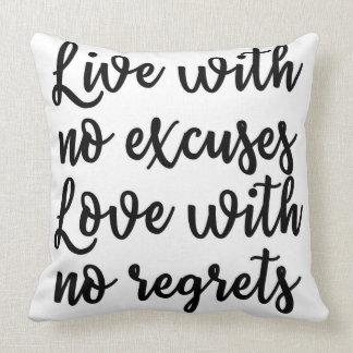 Viva sem o amor das desculpas sem o travesseiro almofada