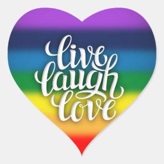 Vive a etiqueta do arco-íris do amor do riso