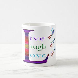 Vive bem, o riso frequentemente, ama sempre por caneca de café