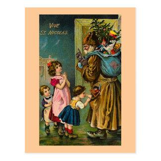 """""""Vive cartão do francês do vintage do St. Nicolas"""" Cartão Postal"""