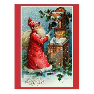 """Vive Natal do francês do vintage do St. Nicolas"" Cartão Postal"