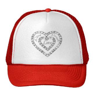 Vive o chapéu do coração do diamante do amor do boné