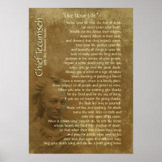 """""""Vive sua vida"""" no pergaminho velho, Tecumseh Poster"""