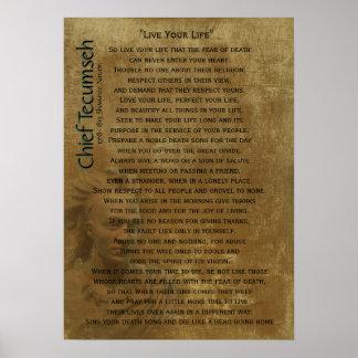 """""""Vive sua vida"""" no pergaminho velho, Tecumseh prin Pôster"""
