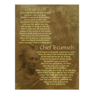 """""""Vive sua vida"""" no pergaminho velho, Tecumseh prin Pôsteres"""