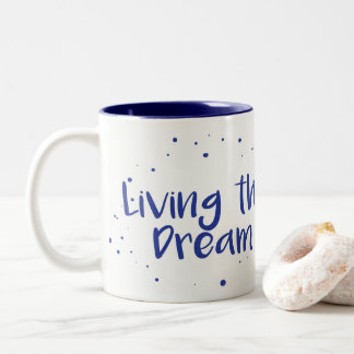 Vivendo a caneca de café ideal, marinho