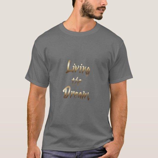 Vivendo a tipografia de inspiração do ouro do camiseta