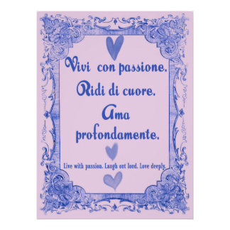 Vivi poster italiano da sabedoria da língua de pôster