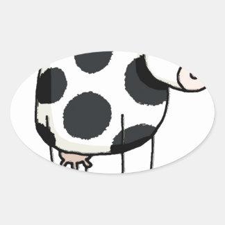 Vivi vaca adesivo oval
