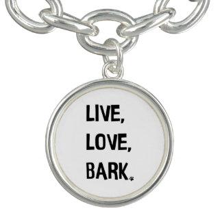 Vivo, amor, bracelete do encanto do latido
