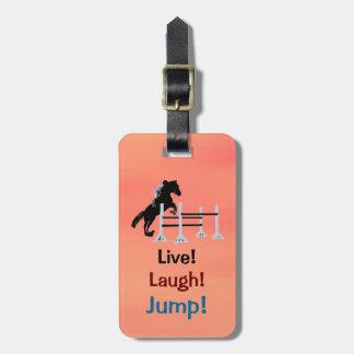 Vivo! Riso! Salto! Cavalo equestre Etiqueta De Bagagem