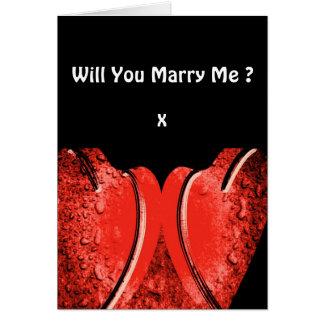 Você casar-me-á? Corações contratados românticos Cartão Comemorativo