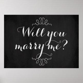 Você casar-me-á? Poster do quadro do noivado