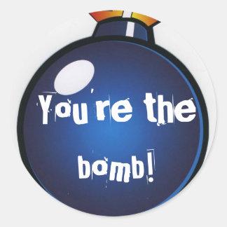 """""""Você é a bomba!"""" Etiquetas Adesivos Redondos"""