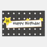Você é a etiqueta do feliz aniversario da estrela adesivo retangular