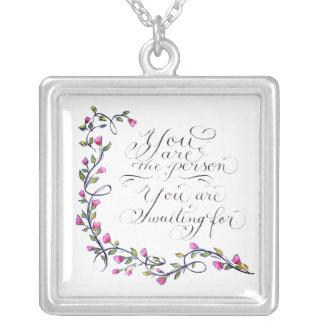 Você é a tipografia inspirada das citações da colar banhado a prata