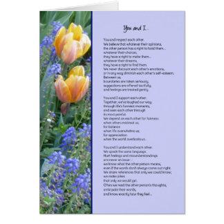 Você e amizade de I… Cartão Comemorativo