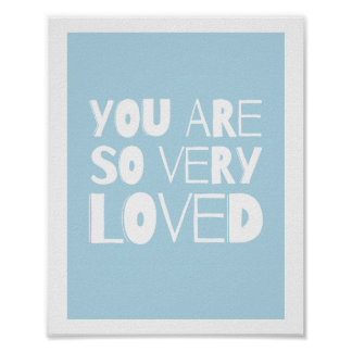 Você é azul moderno doce amado da decoração   da poster