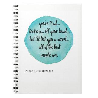 Você é Bonkers louco, Alice no caderno do país das