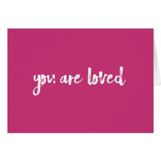 Você é cartão handlettered rosa amado