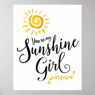 Você é meu poster da arte da menina da luz do sol