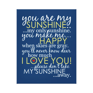 Você é minha luz do sol - azul - canvas