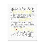 Você é minha luz do sol - branco - canvas impressão de canvas envolvidas