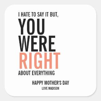 Você era etiquetas direitas do dia das mães da