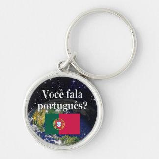 Você fala o português? no português. Terra da Chaveiro Redondo Na Cor Prata