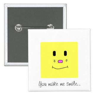 Você faz-me sorrir… botão amarelo bóton quadrado 5.08cm