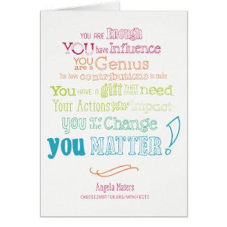 Você importa cartão do manifesto (arco-íris)